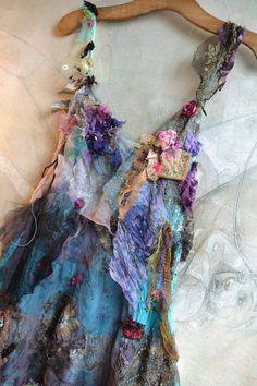 Vestido, color, flores