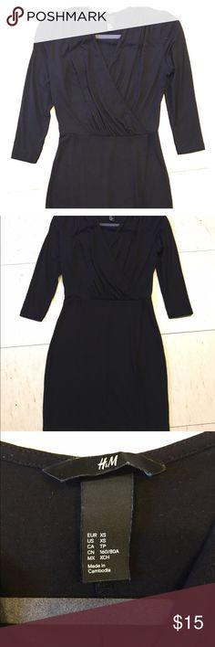H&M Little black wrap dress, xs Cute little black dress wrap style with slit and quarter length sleeves H&M Dresses Midi