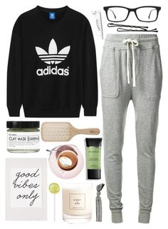 """Good vibes only"" by queen-elizabeth2000 ❤ liked on Polyvore featuring James Perse, adidas Originals, Fig+Yarrow, Eight & Bob, Philip Kingsley, Martha Stewart, Ray-Ban, BOBBY, Smashbox and Emi-Jay"