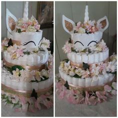 Day Cares & Child Care : Free Diaper Cake Instructions – Baby This At Idee Baby Shower, Unicorn Baby Shower, Baby Shower Diapers, Baby Shower Parties, Baby Shower Gifts, Diy Diaper Cake, Nappy Cakes, Baby Diaper Crafts, Diaper Babies