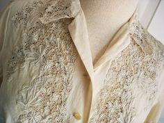 Vintage 60s silk lace blouse/ floral cutwork