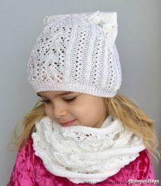 Ажурная шапочка с ушками.