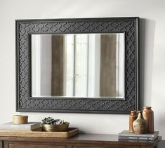"$499 Black Fretwork Wall Mirror | Pottery Barn; 34.5"" wide, 36"" high. Can this work for my powder room with the light fixtures?"