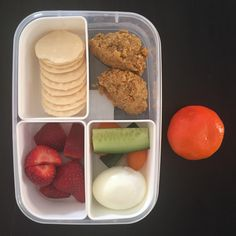 Kids lunchbox today - this is Master & Miss 4s (this is their morning tea & lunch as we are heading out) ... Miss 13 & Miss 11 have similar just more veggies!  #sakata #ricecrackers #strawberries #cucumber #tomato #egg #carrotcakebites (from #cookbook #cutoutthecraplunchboxsolutions ) & #mandarin  #cutoutthecrap #glutenfree #dairyfree #preservativefree #additivefree #nutfree #refinedsugarfree #yum #grateful #collettewhite