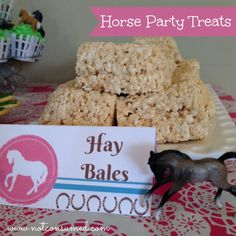Horse party food---> Rice Krispy Treat Hay Bales. These were a huge hit.