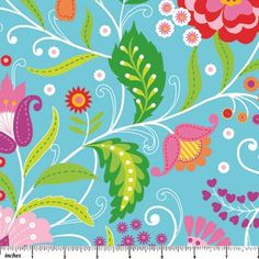 Floral Whimsy - Turquoise  By Deborah Edwards Northcott Studio