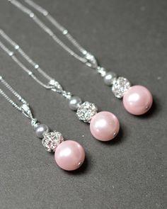 Pink gray Wedding Jewelry Bridesmaid Gift by thefabbridaljewelry, $29.99