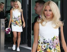 Street style - Pixie Lott In Dolce & Gabbana - BBC Breakfast Studios - August 2014