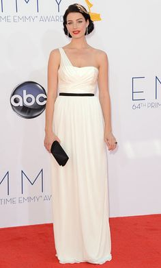 Emmys 2012: Jessica Pare added diamond danglers and a black clutch to her Jason Wu Grecian gown