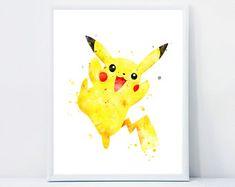 Watercolor Instant Download Nursery Wall Art by QualityPrintCenter Pokemon Go, Pokemon Decor, Pikachu, Pokemon Gifts, Charmander, Nintendo Party, Kung Fu Panda 3, Anime Child, Nursery Wall Art
