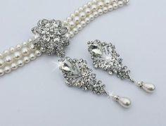 ARIANA - Rhinestone and Swarovski Pearl Bridal Jewelry Set