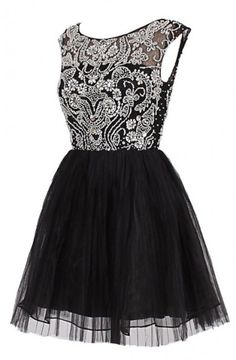 Exquisite A-line Jewel Knee Length Tulle Prom/Homecoming Dress with Beading TLHD2015062604