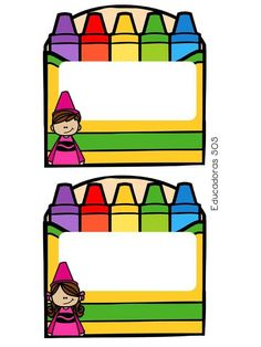 Crayon Themed Classroom, Classroom Labels, Kindergarten Classroom, Classroom Themes, Classroom Organization, Cubby Tags, School Frame, School Labels, School Clipart