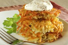 This latkes recipe from Food.com calls for frozen shredded potatoes so youll save time in the kitchen.