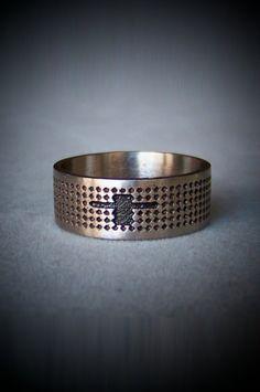 Textured Cross Ring in Stainless Steel - Unisex or Mens Custom Sizes