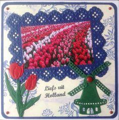 """Bloemenvelden met molen en """"Liefs uit Holland"""" naar Litouwen"""