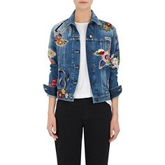 Saint Laurent Women's Floral-Patch Denim Jacket ($3,450) ❤ liked on Polyvore featuring outerwear, jackets, blue, blue denim jacket, embellished jean jacket, patched jean jacket, blue jean jacket and blue jackets