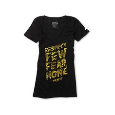 Trukfit Girls Respect Few Leopard Black V-Neck Tee Shirt ($30) ❤ liked on Polyvore