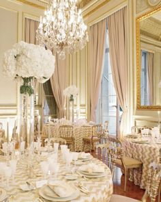 Wedding Decor Ideas - Regal reception at the Hôtel de Crillon in Paris