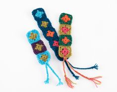 Lion Brand's Bonbons are perfect for creating little items, such as mini granny square bookmarks!