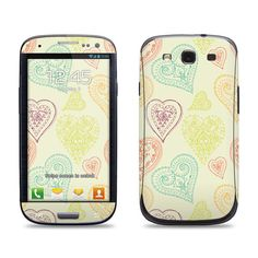 Samsung Galaxy S3 Phone Case Cover Decal - Paisley Hearts - Galaxy S4 Case Cover Decal
