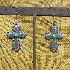 Scalped Edge Silver Cross Earrings
