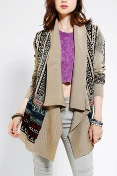 Staring At Stars Intarsia Drape Open Cardigan  #urbanoutfitters