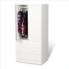 Prepac White Juvenile TV,Wardrobe Armoire by Prepac. $207.87. Some assembly may be required. Please see product details.. No matter what your decor, this practical and functional TV,Wardrobe Armoire with clean lines and classic round-shaped knobs will blend perfectly. It features a fresh white laminate finish and plenty of storage space. Features:  TV,Wardrobe Armoire made of engineered wood White laminate finish Two doors Three drawers on bottom Drawers slide smoothly on nylon...