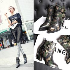 Nine Seven Women's Genuine Leather Pointy Toe Chunky Mid Heel Lace up Ankle Bootie