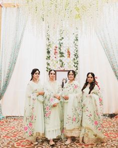 Spotted- the bridal party in coordinated outfits at 's wedding. Shot by ,… Punjabi Suits Designer Boutique, Boutique Suits, Indian Designer Suits, Embroidery Suits Punjabi, Embroidery Suits Design, Hand Painted Dress, Painted Clothes, Dress Indian Style, Indian Dresses