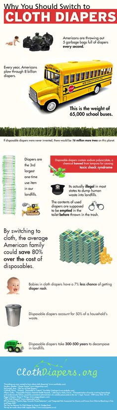cloth diapers infographic- Cloth diapers might not be for everyone, but if you can use them the benefits add up quickly!