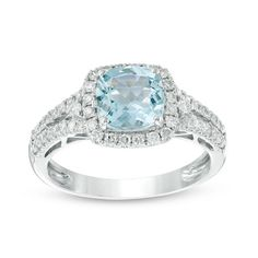 7.0mm Cushion-Cut Aquamarine and 3/8 CT. T.W. Diamond Frame Engagement Ring in 14K White Gold - Size 7 - Save on Select Styles - Zales