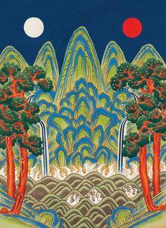 Korean Art, Asian Art, Painting Inspiration, Art Inspo, Jungle Art, Korean Painting, Detail Art, Psychedelic Art, Illustrations And Posters