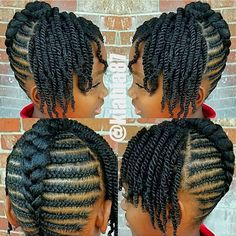 LOOK: Youre gonna get so many cute ideas from these braid hairstyles for Black women & kids. Its THAT TIME again: Today, were featu. Little Girls Natural Hairstyles, Natural Braided Hairstyles, Natural Hair Braids, Braided Hairstyles For Black Women, Natural Hair Styles For Black Women, Natural Styles, Natural Hair Cornrow Styles, Flat Twist Hairstyles, Flat Twist Updo