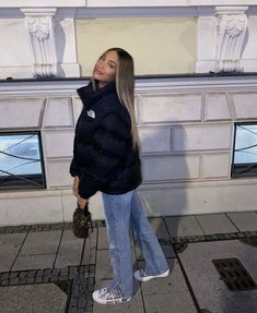 Baddie Outfits Casual, Athleisure Outfits, Retro Outfits, Cute Casual Outfits, Winter Fashion Outfits, Look Fashion, North Face Jacke, Mode Ootd, Jackett