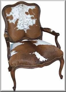 Carved Frame Cow Hide Chair - 288