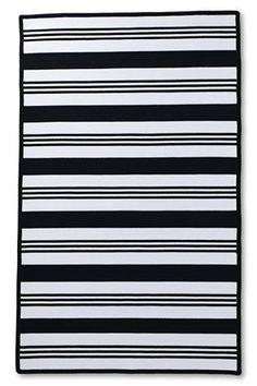 Land's End outdoor rug - 5' x 8' Navy/White Stripe