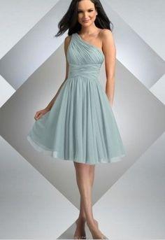 Discount Chiffon One-Shoulder A-Line Simple Short Bridesmaid Dress Free Measurement