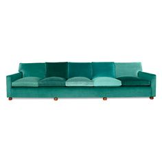 "i want a green velvet sofa. ""Sofa from Svenskt Tenn an interior design shop located in Stockholm, Sweden. The couch is composed of 14 different shades of blue-green linen. The found sofa feet are stained beech wood. Decor, Furniture, Green Sofa, Sofa Furniture, Long Sofa, Home Furniture, Sofa, Statement Sofa, Couch"