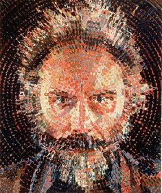 man face portrait by Chuck Close I liked how the picture is done in a circle. Looks like stippling was used along with a single point perspective.