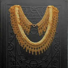 Antique Egyptian Revival Necklace. Rare Chain Maille & Mesh. Art Deco. Cleopatra.