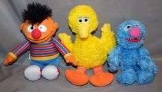 "Sesame Street Ernie Big Bird and Grover Plush Set 10"" Fisher Price Hasbro #FisherPrice"