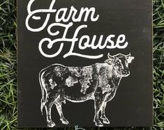 I love, love, LOVE this sign! The other side is a checkerboard pattern. Perfect to layer into my farmhouse decor! Black Chalk Paint, Checkerboard Pattern, Paint Background, Hand Painted Signs, Rustic Farmhouse, Board Games, Diy Home Decor, Cow, Etsy Seller