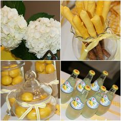 Lemons in apothecary vases - centerpieces <3