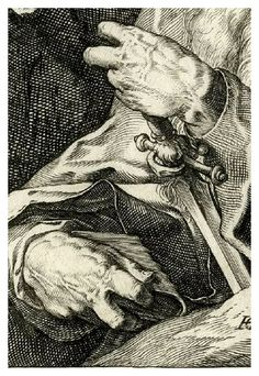 Hendrick Goltzius (1558–1617)  From the suite Christ, The Twelve Apostles and St. Paul  (detail)  Plate 14: St Paul. Half-length, holding the hilt of a sword (as Defender of the Faith); third state. 1589
