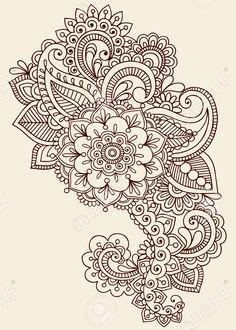 Flores Henna Mehndi Paisley Doodles del tatuaje de diseño abstracto florales                                                                                                                                                                                 Más
