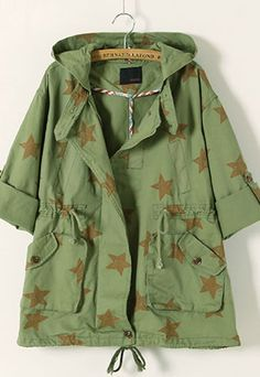 $33.99 [grzxy6600333]Army Style Retro Star Print Hooded Trench Coat | cheershop - Clothing on ArtFire