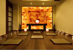 Himalayan Salt Wall install rendering for existing yoga studio-negative ion generating, heating option for Hot Yoga, Globe accessories.
