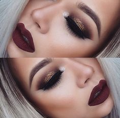 Bronze smokey eye with burgundy lips