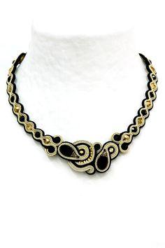 Orlie day to evening black & gold necklace by Dori Csengeri Jewelry Art, Beaded Jewelry, Jewelry Design, Jewellery, Soutache Pattern, Soutache Necklace, Gold Necklace, Embroidery Jewelry, Necklace Designs